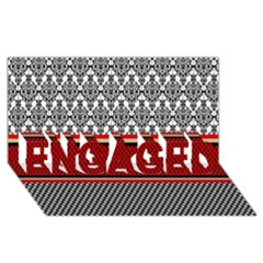 Background Damask Red Black ENGAGED 3D Greeting Card (8x4)