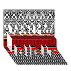 Background Damask Red Black You Did It 3D Greeting Card (7x5)