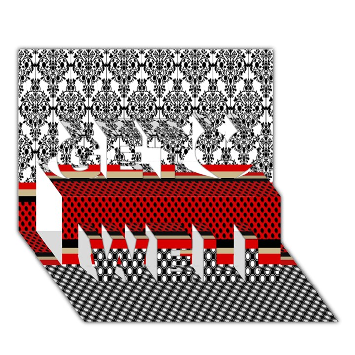Background Damask Red Black Get Well 3D Greeting Card (7x5)
