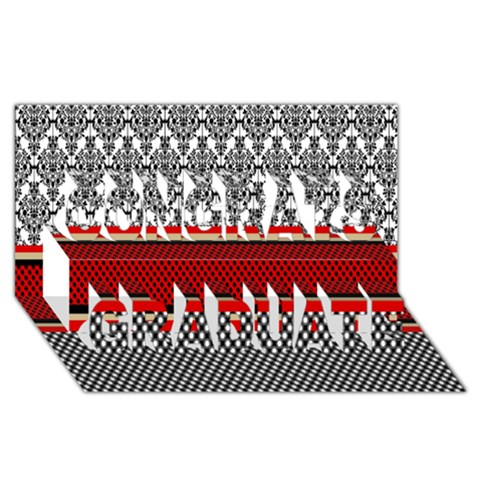 Background Damask Red Black Congrats Graduate 3D Greeting Card (8x4)