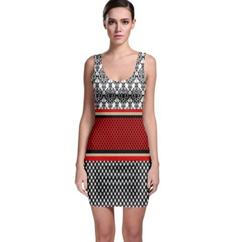 Background Damask Red Black Sleeveless Bodycon Dress