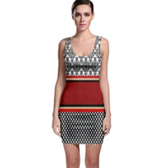 Background Damask Red Black Sleeveless Bodycon Dress