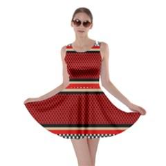 Background Damask Red Black Skater Dress