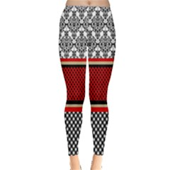 Background Damask Red Black Leggings