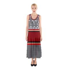 Background Damask Red Black Sleeveless Maxi Dress