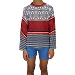Background Damask Red Black Kids  Long Sleeve Swimwear