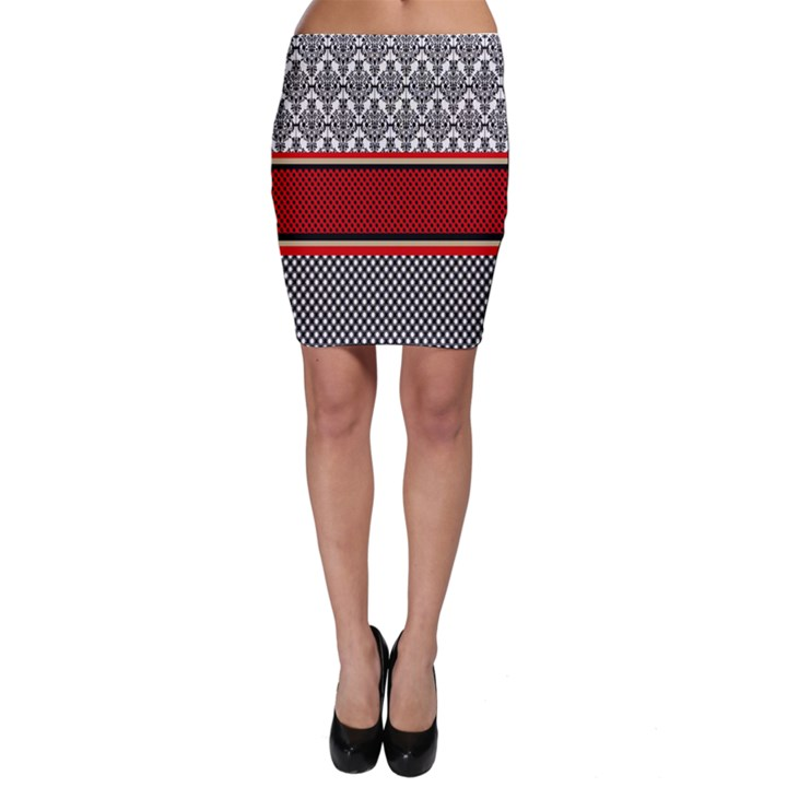 Background Damask Red Black Bodycon Skirt