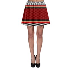 Background Damask Red Black Skater Skirt