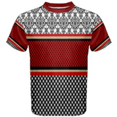 Background Damask Red Black Men s Cotton Tee