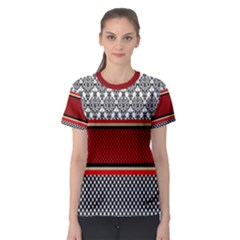 Background Damask Red Black Women s Sport Mesh Tee