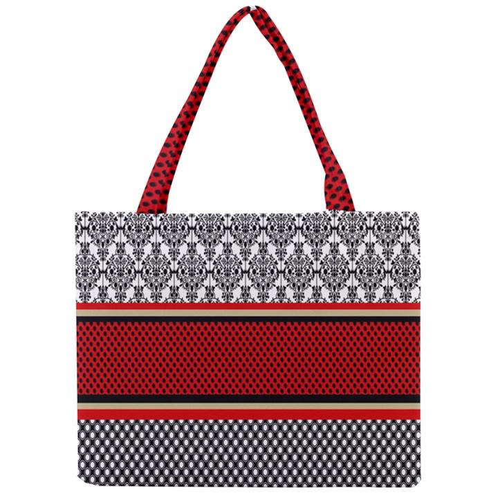 Background Damask Red Black Mini Tote Bag