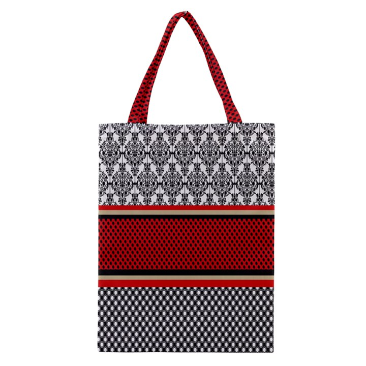 Background Damask Red Black Classic Tote Bag