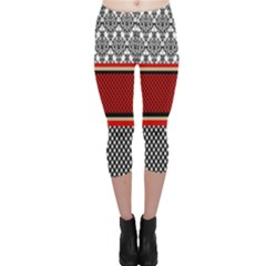 Background Damask Red Black Capri Leggings