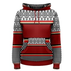 Background Damask Red Black Women s Pullover Hoodie