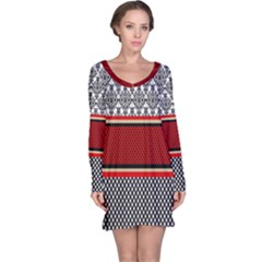 Background Damask Red Black Long Sleeve Nightdress