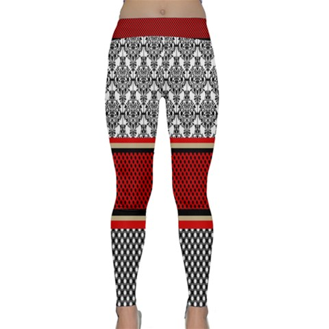 Background Damask Red Black Yoga Leggings