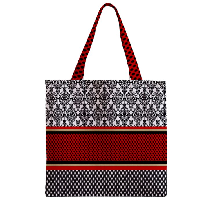 Background Damask Red Black Zipper Grocery Tote Bag