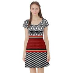 Background Damask Red Black Short Sleeve Skater Dress