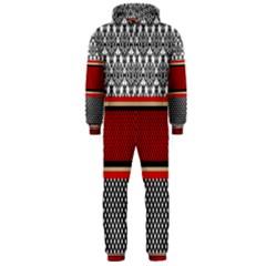 Background Damask Red Black Hooded Jumpsuit (Men)