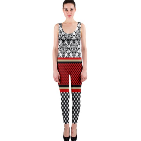 Background Damask Red Black OnePiece Catsuit