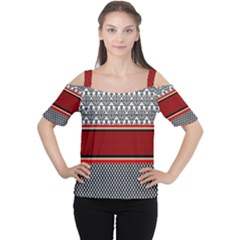 Background Damask Red Black Women s Cutout Shoulder Tee
