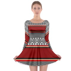 Background Damask Red Black Long Sleeve Skater Dress