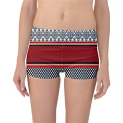 Background Damask Red Black Reversible Boyleg Bikini Bottoms