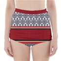 Background Damask Red Black High-Waisted Bikini Bottoms View1