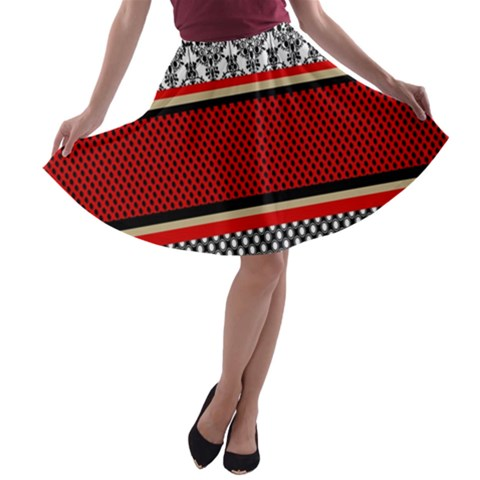 Background Damask Red Black A-line Skater Skirt
