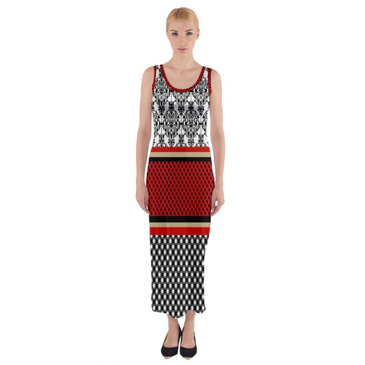 Background Damask Red Black Fitted Maxi Dress
