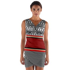 Background Damask Red Black Wrap Front Bodycon Dress