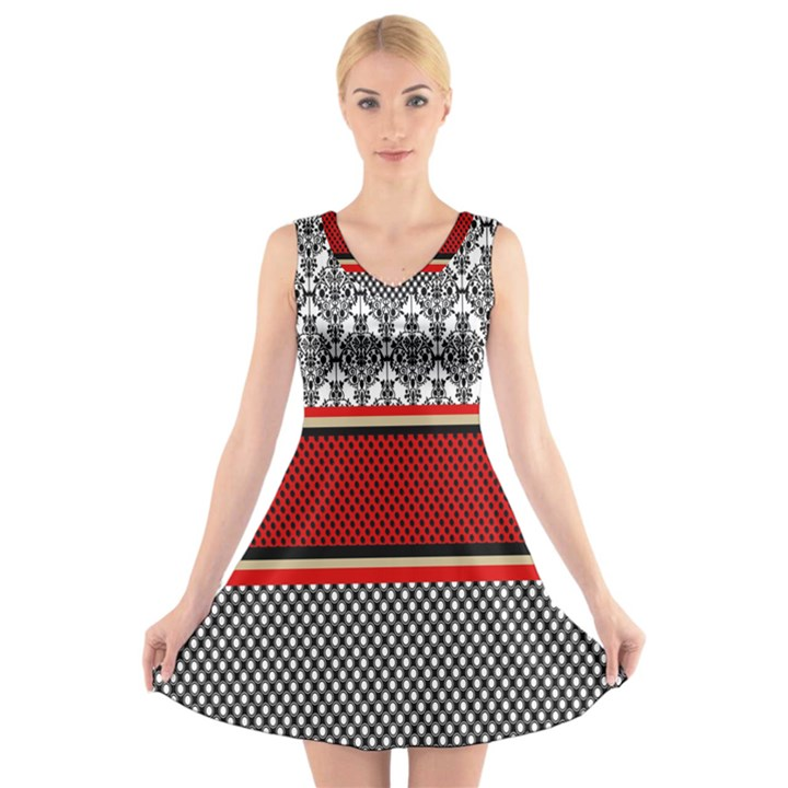 Background Damask Red Black V-Neck Sleeveless Skater Dress