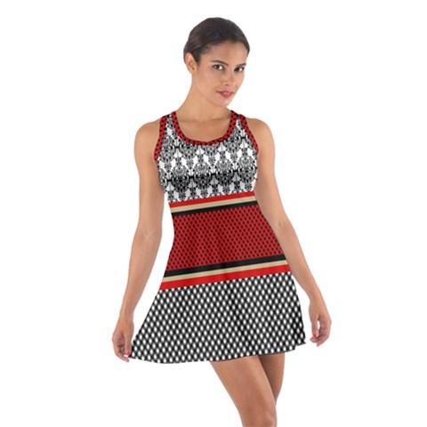 Background Damask Red Black Cotton Racerback Dress