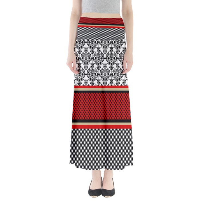 Background Damask Red Black Maxi Skirts