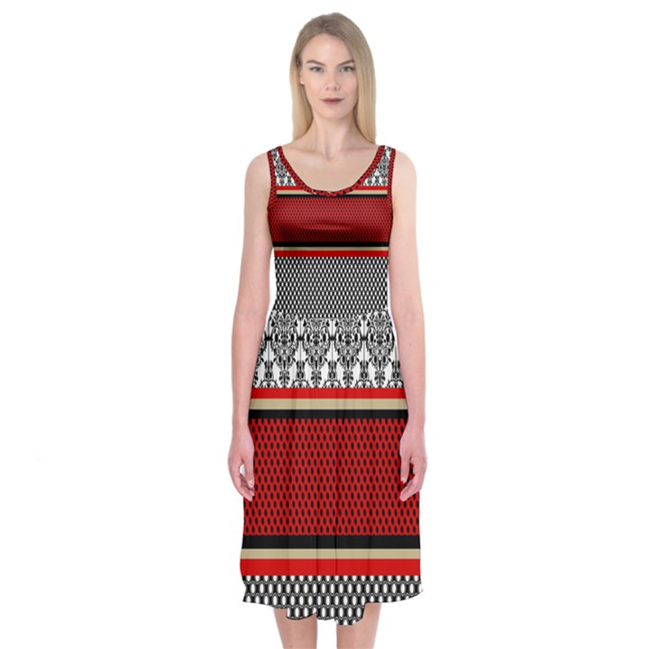 Background Damask Red Black Midi Sleeveless Dress