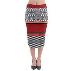 Background Damask Red Black Midi Pencil Skirt