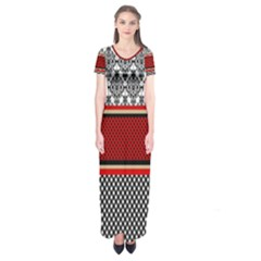 Background Damask Red Black Short Sleeve Maxi Dress