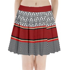 Background Damask Red Black Pleated Mini Skirt