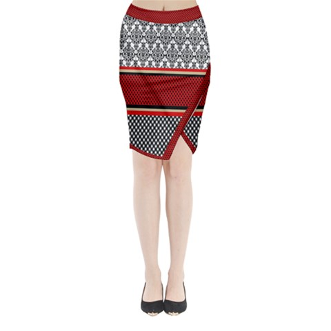 Background Damask Red Black Midi Wrap Pencil Skirt