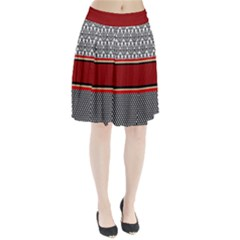 Background Damask Red Black Pleated Skirt