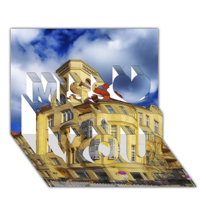Berlin Friednau Germany Building Miss You 3D Greeting Card (7x5)