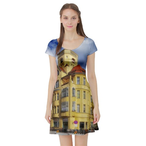 Berlin Friednau Germany Building Short Sleeve Skater Dress