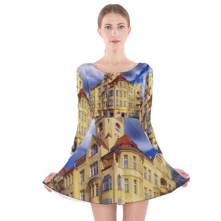 Berlin Friednau Germany Building Long Sleeve Velvet Skater Dress