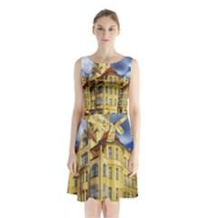 Berlin Friednau Germany Building Sleeveless Chiffon Waist Tie Dress
