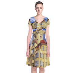 Berlin Friednau Germany Building Short Sleeve Front Wrap Dress