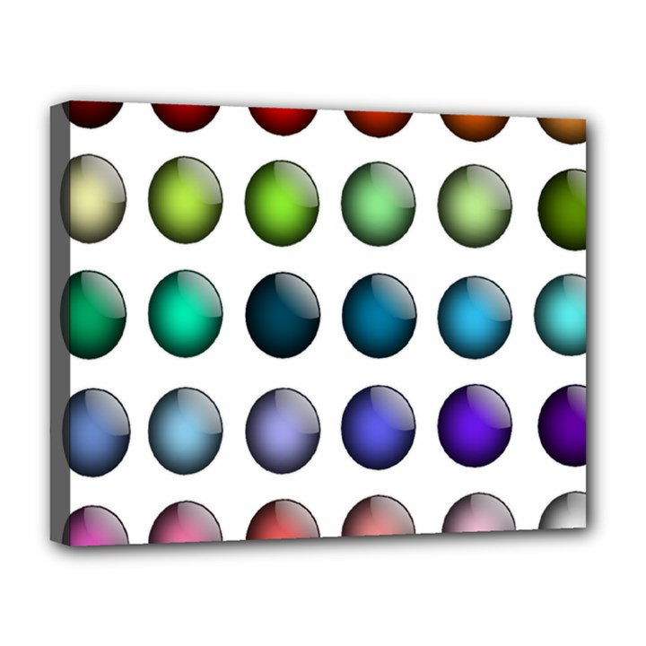 Button Icon About Colorful Shiny Canvas 14  x 11