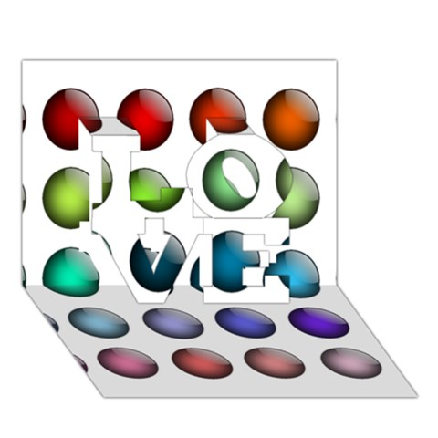 Button Icon About Colorful Shiny LOVE 3D Greeting Card (7x5)