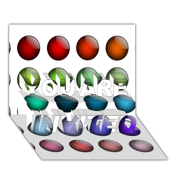 Button Icon About Colorful Shiny YOU ARE INVITED 3D Greeting Card (7x5)