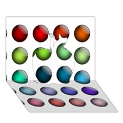 Button Icon About Colorful Shiny Apple 3D Greeting Card (7x5)
