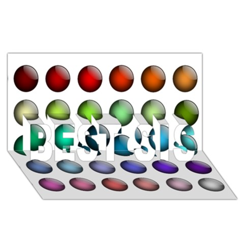 Button Icon About Colorful Shiny BEST SIS 3D Greeting Card (8x4)